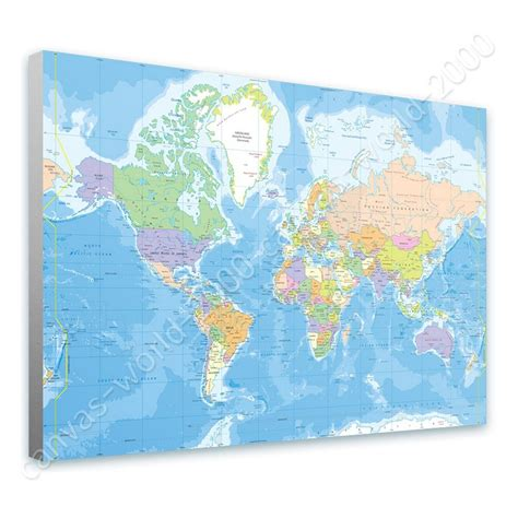 world map canvas ready to hang canvas political modern world map framed print framed wall ebay