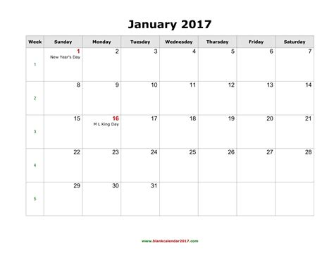 2017 Monthly Calendar With Holidays Blank Calendar 2017