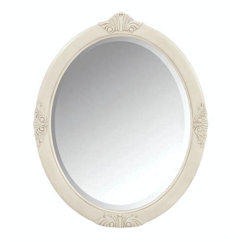 white framed oval bathroom mirror home decorators collection winslow 30 in w x 37 in h
