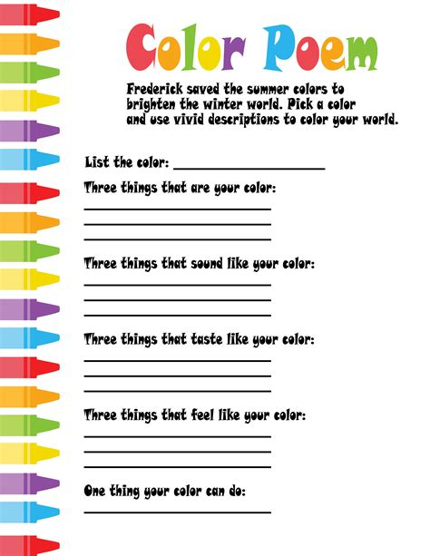 color poem template frederick freebies teaching language and poetry with