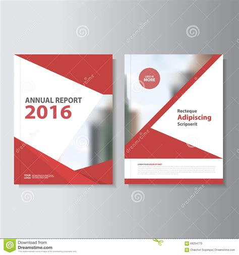layout of a cover red vector annual report leaflet brochure flyer template
