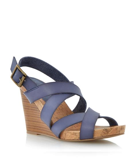 blue wedge sandals linea shoes lyst