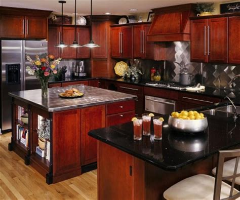 black stainless appliances with cherry cabinets cherry wood cabinets black granite countertops stainless