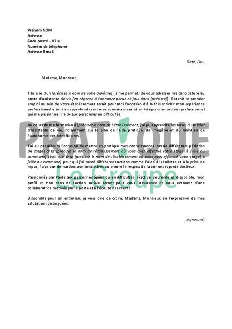 Exemple De Lettre De Motivation Vie Lettre De Motivation Pour Un Emploi D Assistante De Vie D 233 Butante Pratique Fr