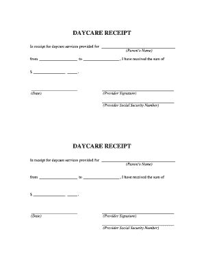 daycare tax receipt template childcare recipet fill printable fillable
