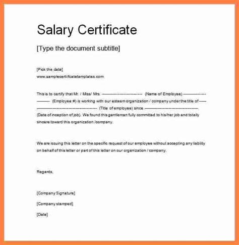 certify letter for salary 5 exle of salary certificate salary slip