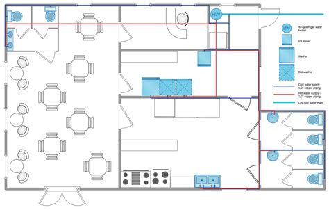 plumbing floor plan plumbing and piping plans solution conceptdraw