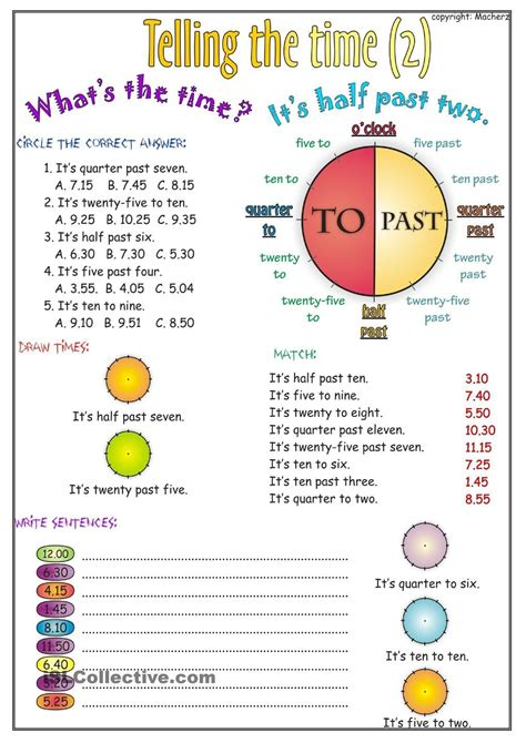 telling the time worksheet part 2 education