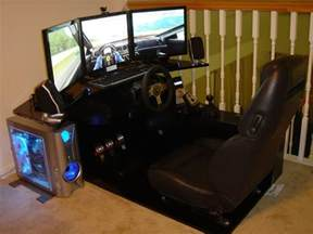 Gaming Pc Desk Setup Gaming Setup With Ps3 Pc Surround Sound System Logitech G25 Steering Wheel 3 Lcd Monitors