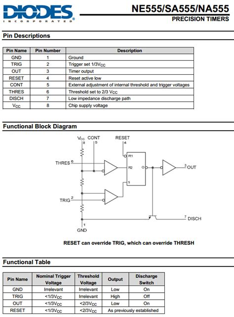 ne datasheet   precision timers diodes