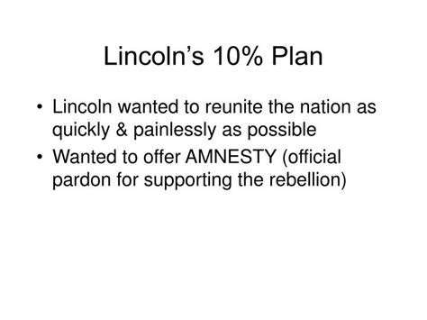 lincoln s 10 percent plan ppt chapter 17 reconstruction 1865 1877 powerpoint