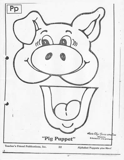 pig puppet template crafts actvities and worksheets for preschool toddler and