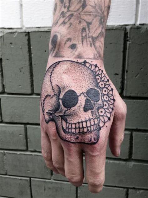 dotwork hand tattoo skull hand dotwork tattoo by philippe fernandez