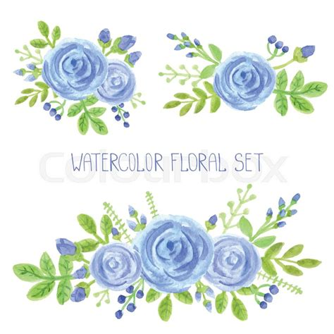 Home Decor With Flowers by Watercolor Blue Flowers Green Branches Leaves Bouquet Set