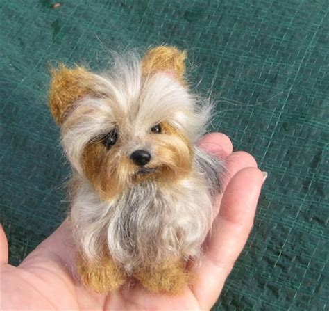 yorkie size needle felted custom pet portrait sculpture terrier yorkie by