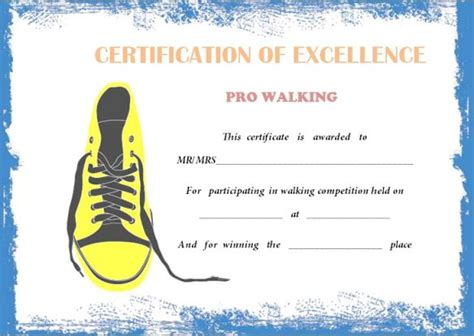 walking certificate templates stunning 25 walking certificates editable word templates