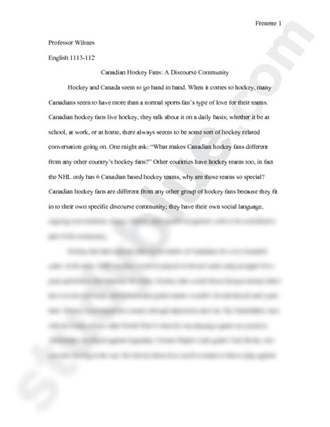 Discourse Community Essay Exle by Discourse Community Analysis Essay Doc 1113 With Wilmes At Of Oklahoma