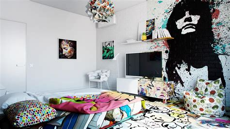 artistic bedroom graffiti room