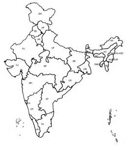India Political Map Outline With States by Language In India