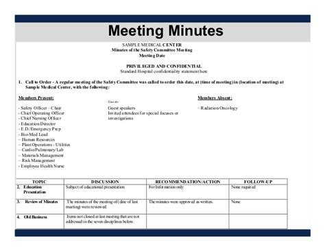 joint health and safety committee meeting minutes template joint health and safety committee meeting minutes template
