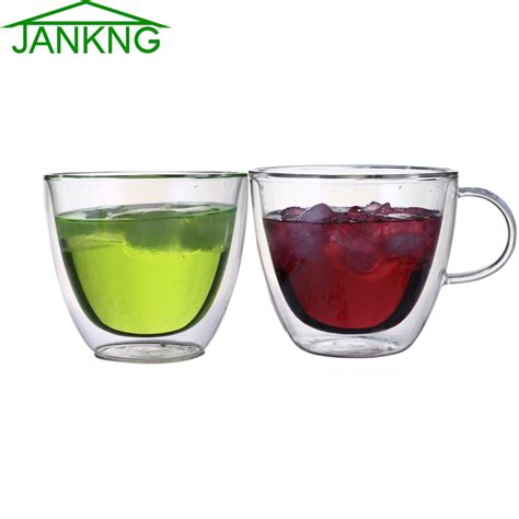 Handmade Glassware - jankng 1 pcs clear handmade wall glass cups 380 ml