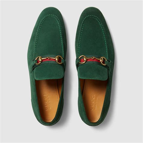 green gucci loafers gucci horsebit suede loafer with web in green for