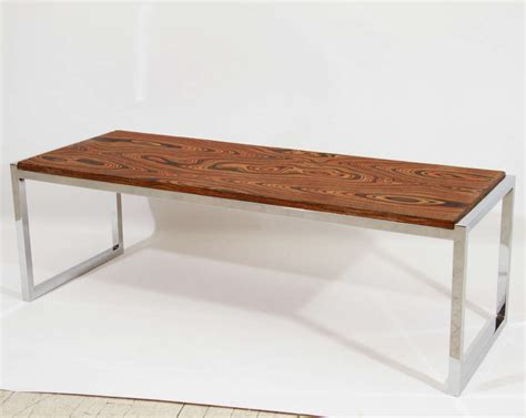 wood bench coffee table chrome exotic wood coffee table or bench at 1stdibs