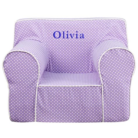 personalized kids chairs sofas baby i am personalized oversized lavender dot kids chair