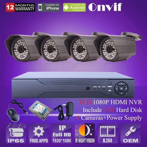 Paket Cctv Wireless 4channel 2mp Harddisk 2tb Monitor 101 2mp 1080p hd 8 channel nvr 2tb hdd surveillance kit onvif 2 0 network kit home security
