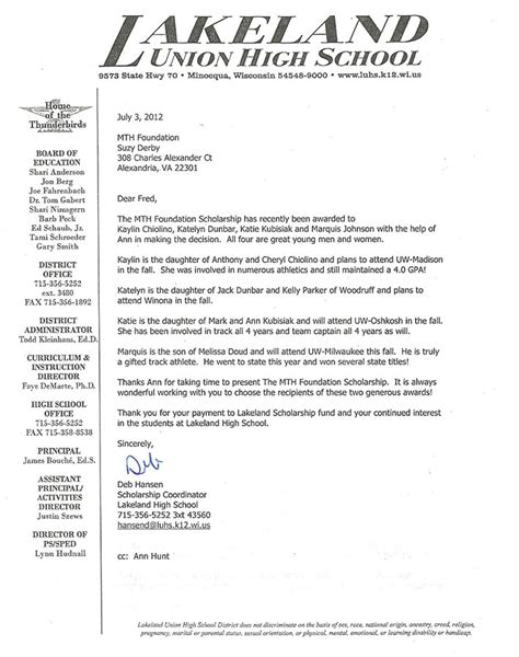 Union College Letter Of Recommendation 2012 Scholarship Letter From Lakeland Union High School