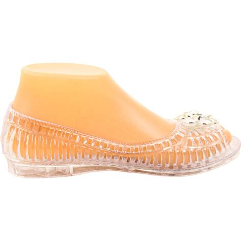clear plastic shoes womens open toe jelly ballet flats shoe sandal clear