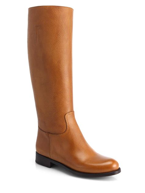 prada leather knee high boots in brown caramel lyst