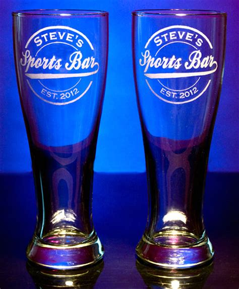 personalized barware glasses personalized sports bar pilsner glasses