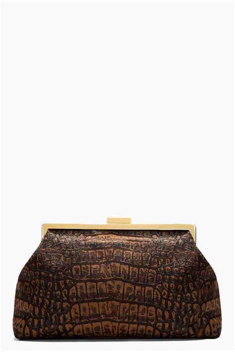 Stella Croco stella mccartney brown croco jacquard fabric clutch in brown lyst