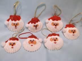 Items similar to set of two seashell santa christmas ornaments on etsy