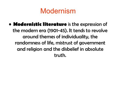 themes modernism literature modernism and post modernism in literature ppt video