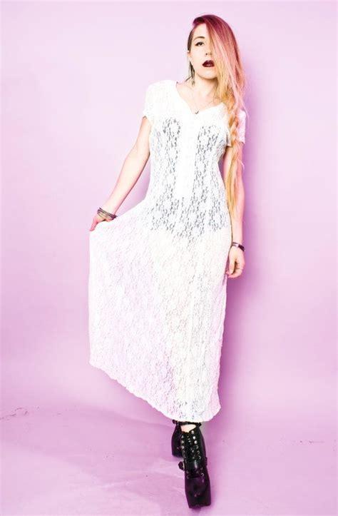 white lace boho maxi dress 90s vintage grunge boho sheer white wedding lace maxi