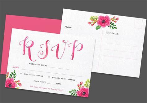 free printable flower rsvp postcard template titanui