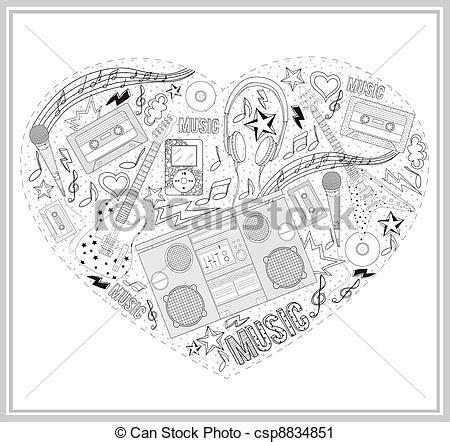 vector clip art of heart from hand drawn music elements