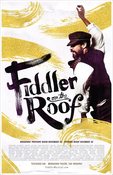 on the roof fiddler on the roof the musical broadway poster