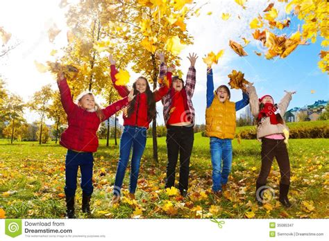 Im For Children by Enjoying Autumn Maple Park Royalty Free Stock