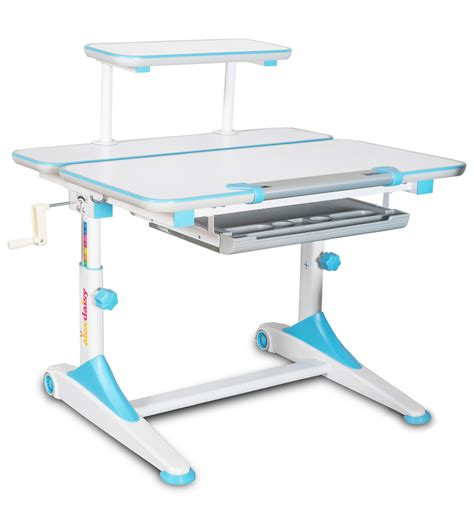 study table height buy istudy height adjustable study table in blue white