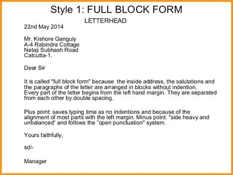 exle of business letter block style exle of block letter with letterhead