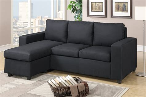 Black Sectional Sofa by Poundex Akeneo F7490 Black Fabric Sectional Sofa A