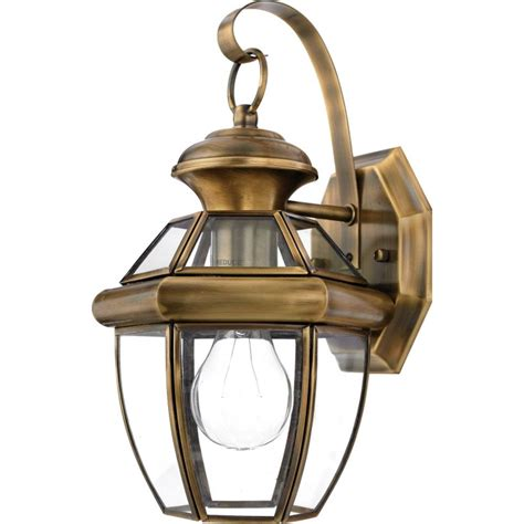 Vintage Outdoor Lighting Outdoor Wall Light With Clear Glass In Antique Brass Finish Ny8315a Destination Lighting