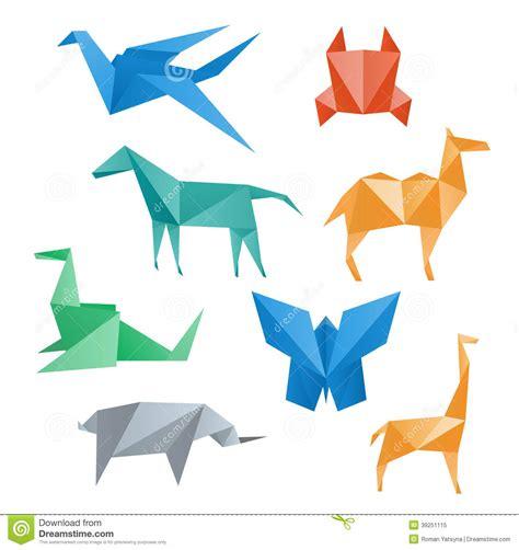 Origami Solutions - faune de papier d animaux style d origami illustration