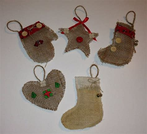 Handmade Primitive Ornaments - 5 burlap ornaments handmade by