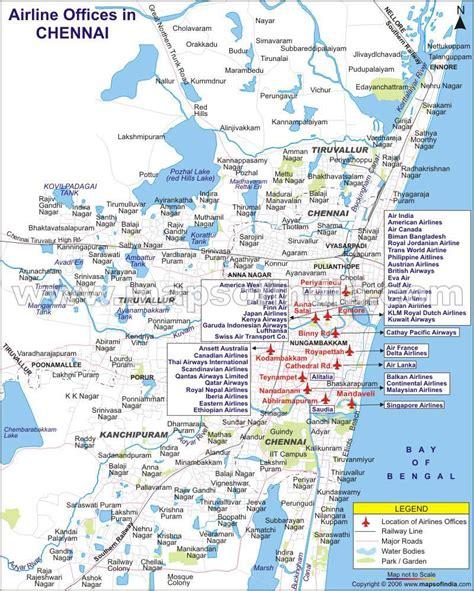 printable chennai road map airline offices in chennai tamil nadu