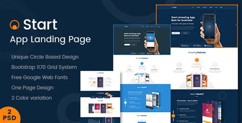 themeforest app landing page start app landing page psd template by kalanidhithemes