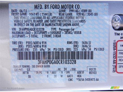 2012 fusion color code ux for ingot silver metallic photo 53066725 gtcarlot